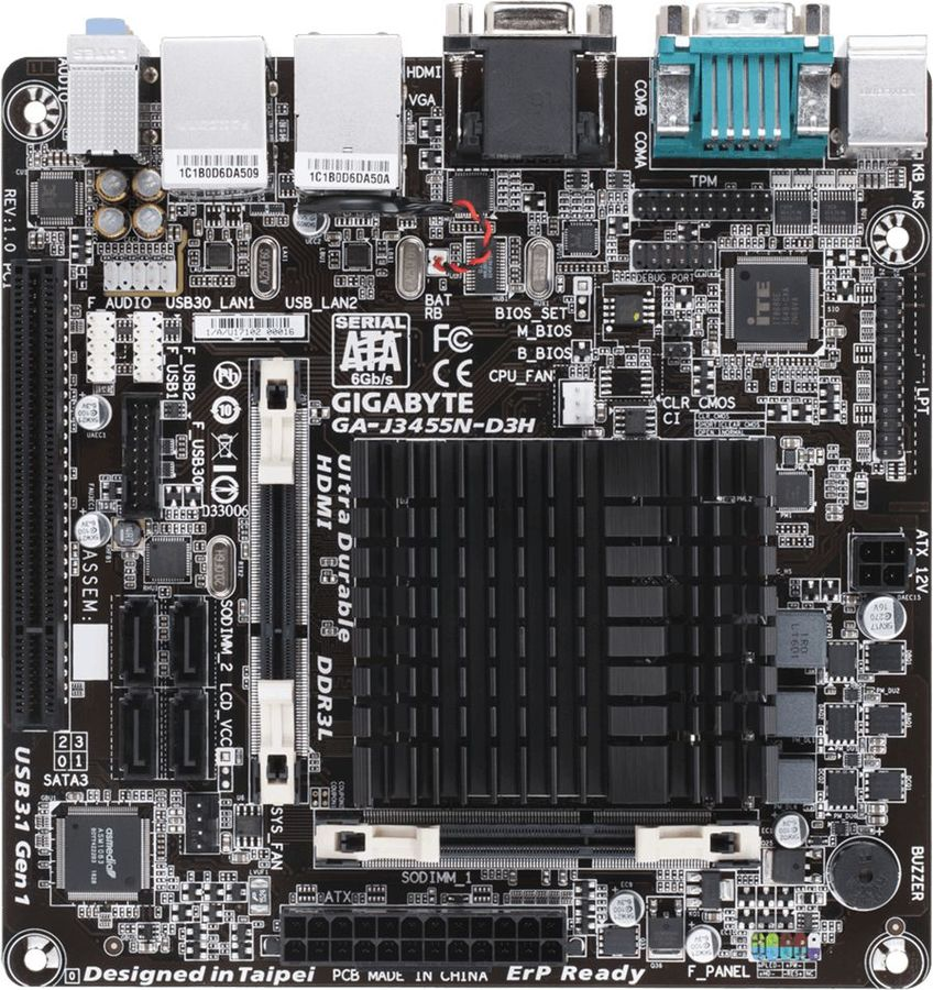 Материнская плата Gigabyte GA-J3455N-D3H 2xDDR3L mini-ITX AC`97 8ch(7.1) 2xGgE+VGA (отремонтированный)