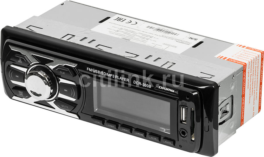 Автомагнитола DIGMA DCR-300B,  USB,  SD/MMC