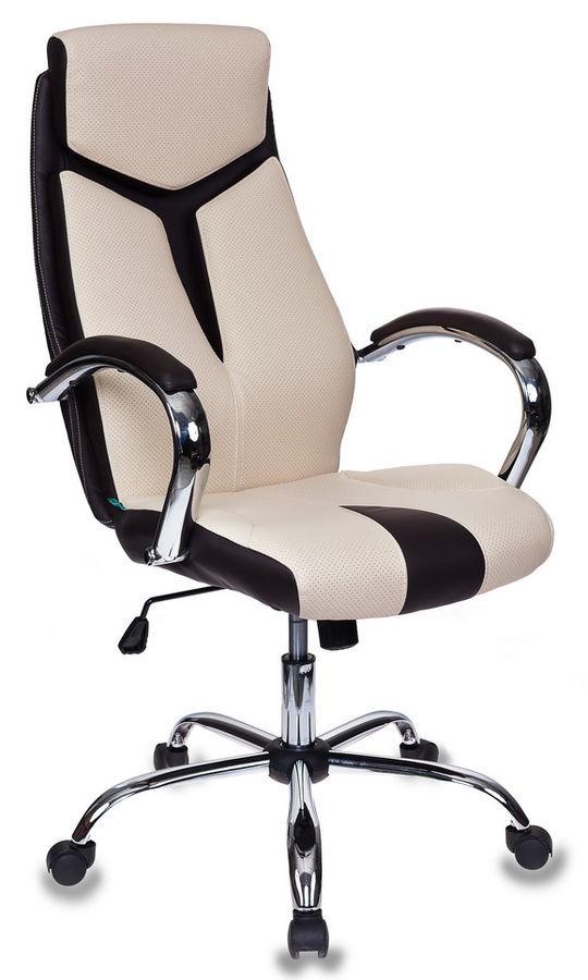 Кресло руководителя БЮРОКРАТ T-701, на колесиках, искусственная кожа, темно-коричневый/бежевый [t-701/bg+br]
