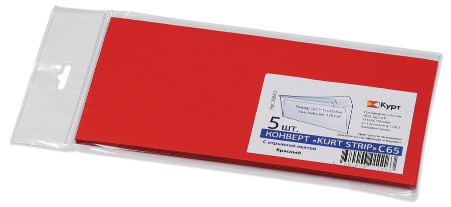 Конверт 206А.5 C65 114x229мм красный клеевой слой 120г/м2 (pack:5pcs)