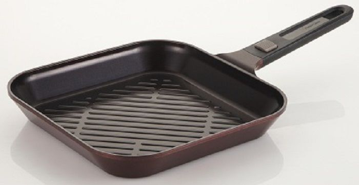 Сковорода-гриль FRYBEST MyPan EK-MP-G28, 28x28см, съемная ручка,  без крышки,  бордовый