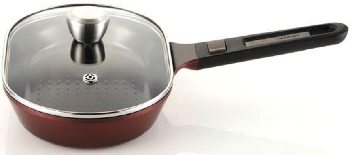 Сковорода FRYBEST MyPan EK-MP-H28G, 28см, съемная ручка,  с крышкой,  бордовый
