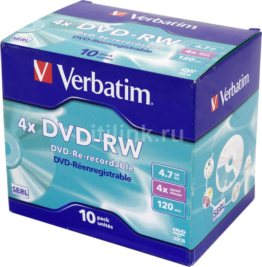Оптический диск DVD-RW VERBATIM 4.7Гб 4x, 10шт., jewel case [43486]