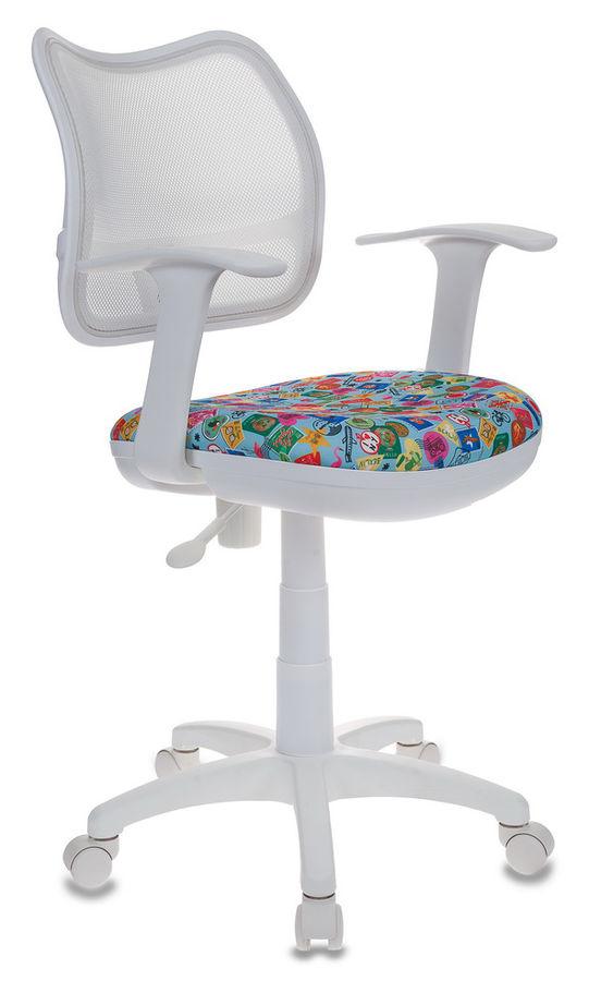 Кресло детское БЮРОКРАТ CH-W797, на колесиках, ткань, голубой [ch-w797/wh/mark-lb]