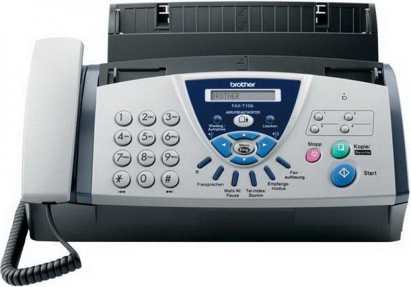 Факс BROTHER FAX-T106,  на основе термопереноса,  серый