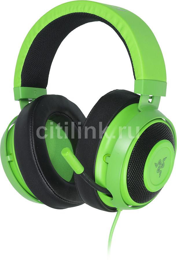 Наушники с микрофоном RAZER Kraken Pro V2 Oval,  мониторы, зеленый  [rz04-02050600-r3m1]