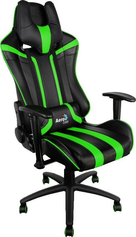 Кресло игровое AEROCOOL AC120-BG, на колесиках, искусственная кожа, черный/салатовый [428421]