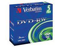 Оптический диск DVD-RW VERBATIM 4.7Гб 6x, 5шт., jewel case [43525]