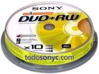Оптический диск DVD+RW SONY 4.7Гб 4x, 10шт., cake box [10dpw120asp]