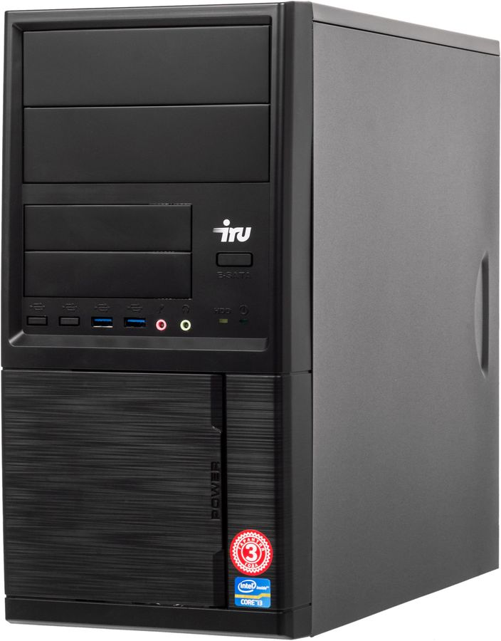 Компьютер  IRU Office 313,  Intel  Core i3  7100,  DDR4 4Гб, 120Гб(SSD),  Intel HD Graphics 630,  Windows 10 Professional,  черный [496587]