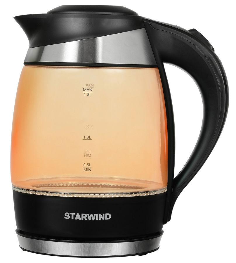 Чайник электрический STARWIND SKG2212, оранжевый и черный