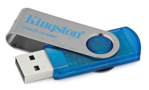 Флешка USB KINGSTON DataTraveler 101 8Гб, USB2.0, серебристый и голубой [dt101c/8gb]