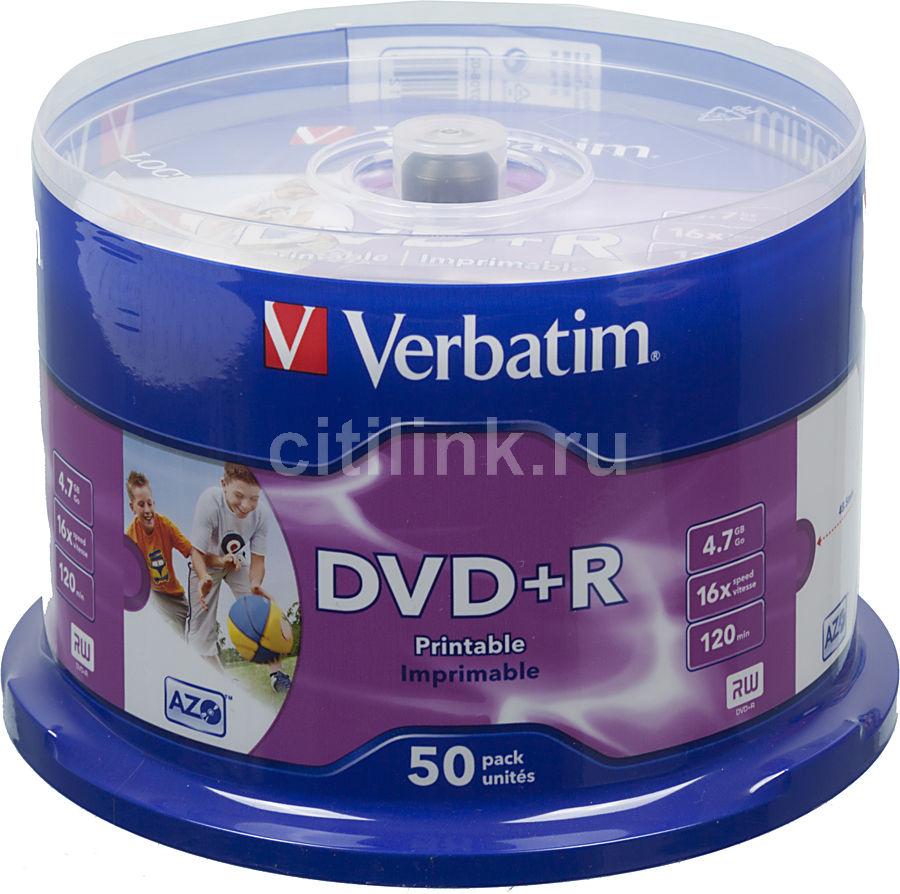 Оптический диск DVD+R VERBATIM 4.7Гб 16x, 50шт., cake box, printable [43512]