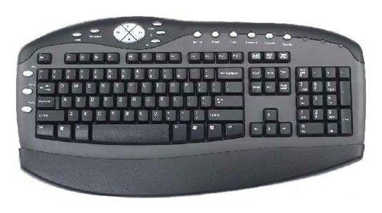 Клавиатура CHICONY KBP-0108,  PS/2, серебристый + черный