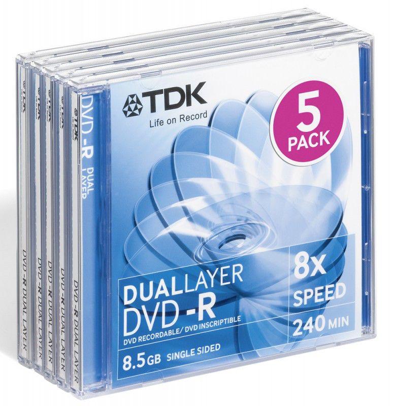 Оптический диск DVD-R TDK 8.5Гб 8x, 5шт., slim jewel case [t19983]