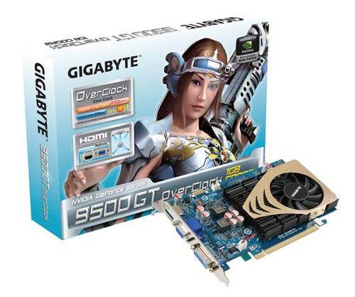 Видеокарта GIGABYTE GeForce 9500 GT,  1Гб, DDR2, OC,  Ret [gv-n95toc-1gi]