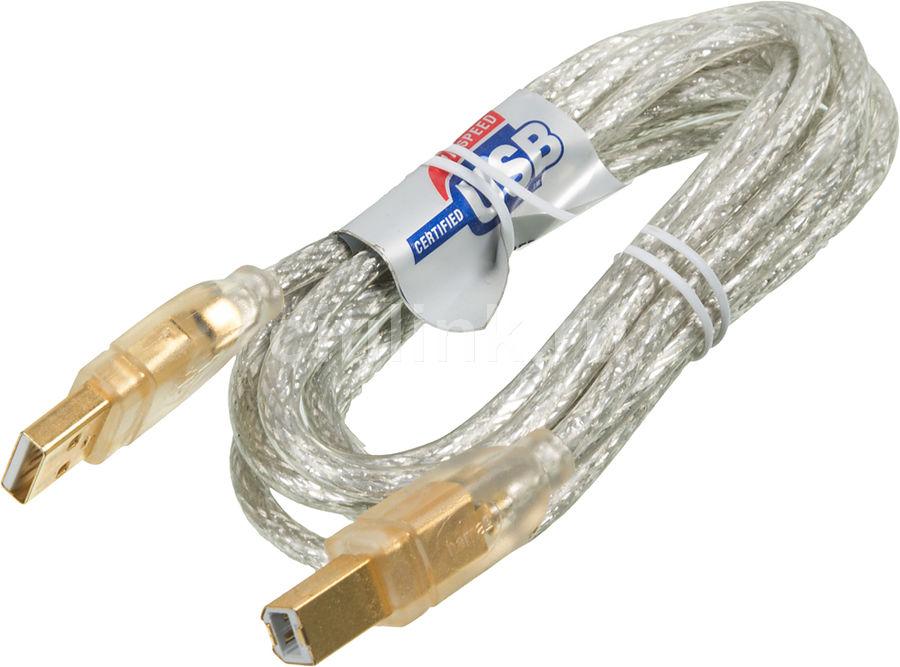Кабель USB2.0  H-46778,  USB A(m) -  USB B(m),  GOLD ,  1.8м,  прозрачный