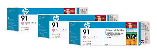 Тройная упаковка картриджей HP №91 светло-пурпурный [c9487a]