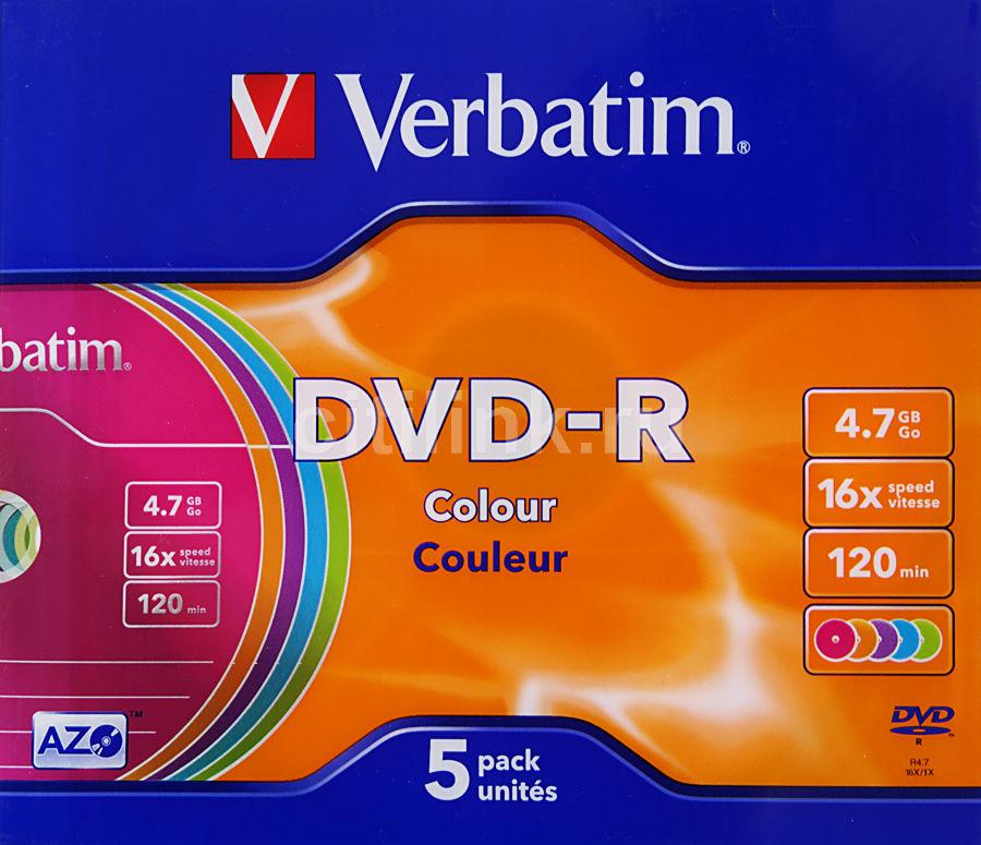 Оптический диск DVD-R VERBATIM 4.7Гб 16x, 5шт., slim case, разноцветные [43557]