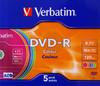 Оптический диск DVD-R VERBATIM 4.7Гб 16x, 5шт., slim case, разноцветные [43557] вид 1