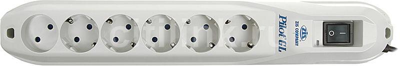 Сетевой фильтр PILOT GL, 3м, белый [pilot-gl 6 роз.3m]