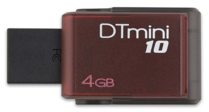 Флешка USB KINGSTON DataTraveler Mini 10 4Гб, USB2.0, красный [dtm10/4gb]