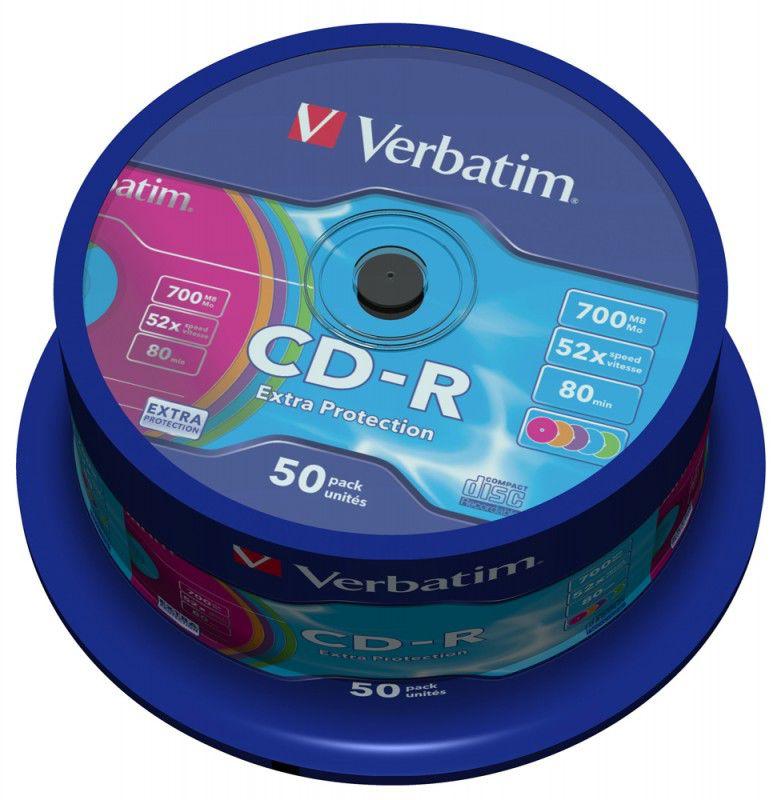 Оптический диск CD-R VERBATIM 700Мб 52x, 50шт., cake box, разноцветные [43711]