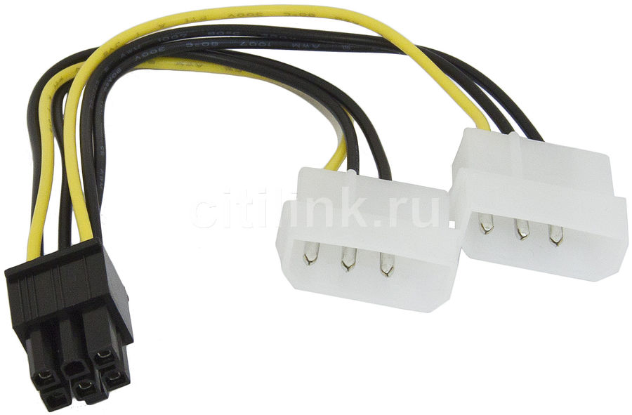 Кабель PCI-E  PCI-E 6pin (прямой) -  Molex 8980 (прямой)2 x ,  0.13м [cc-psu-6]