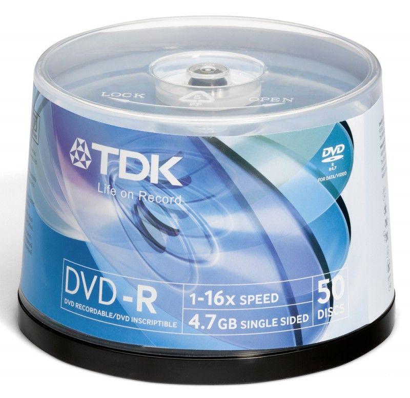 Оптический диск DVD-R TDK 4.7Гб 16x, 50шт., cake box