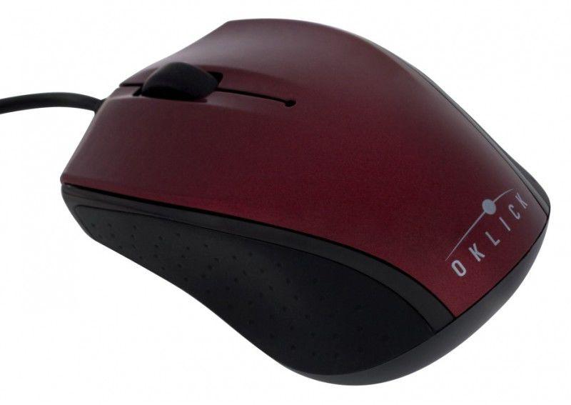 Мышь OKLICK 525XS оптическая проводная USB, красный и черный [b233]