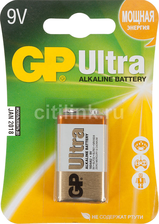 Батарейка GP Ultra Alkaline 1604AU 6LR61,  1 шт. 9V