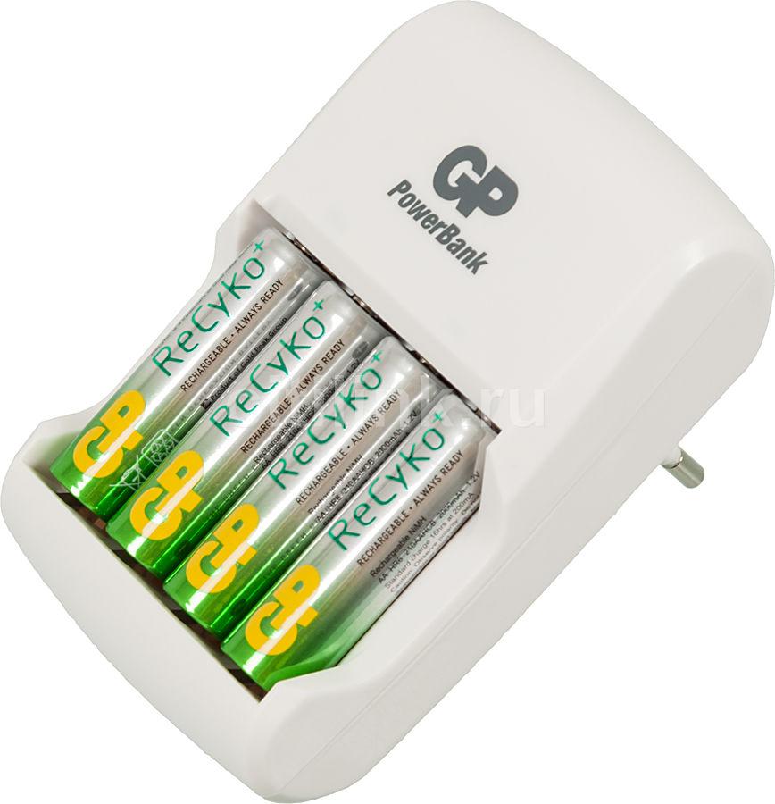 Аккумулятор + зарядное устройство GP Recyko GPAR01GS210B-CR4,  4 шт. AA,  2100мAч
