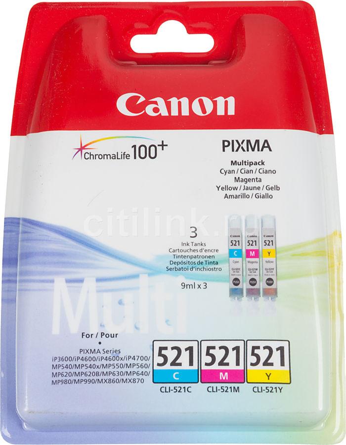Набор картриджей CANON CLI-521 голубой / пурпурный / желтый [2934b010]