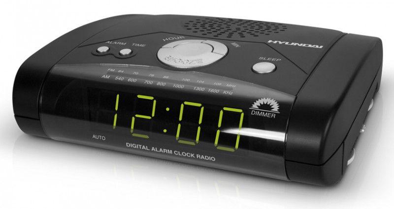 Радиобудильник HYUNDAI H-1504, зеленая подсветка,  черный