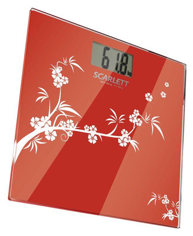 Напольные весы SCARLETT SC218, до 180кг, цвет: красный
