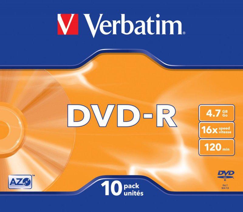 Оптический диск DVD-R VERBATIM 4.7Гб 16x, 10шт., slim case [43655]
