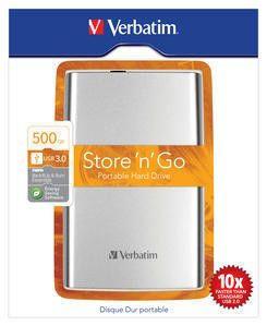 Внешний жесткий диск VERBATIM Store n Go 500Гб, серебристый [53017]