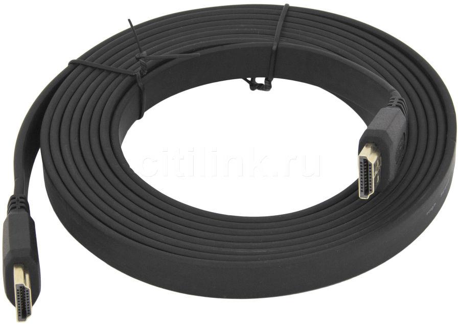 Кабель аудио-видео  FLAT,  HDMI (m)  -  HDMI (m) ,  ver 1.4, 3м, FLAT черный