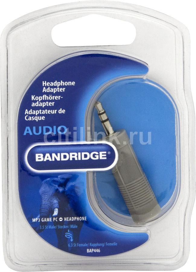 Адаптер для наушников BANDRIDGE BAP446,  Jack 3.5 (m)  -  Jack 6.3 (f) ,  серый