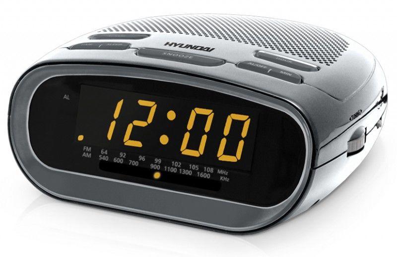 Радиобудильник HYUNDAI H-1512, оранжевая подсветка,  серебристый