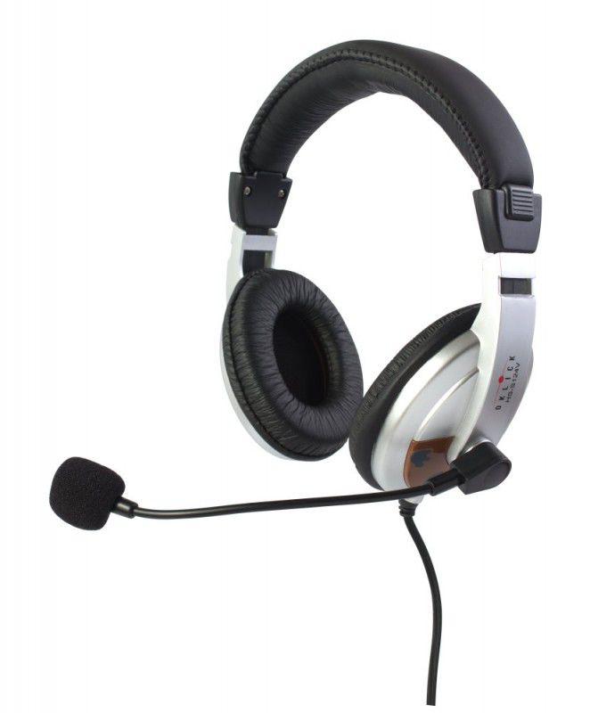 Наушники с микрофоном OKLICK HS-S124V,  мониторы, серебристый  / черный