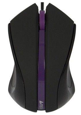 Мышь A4 Q3-310-5 оптическая проводная USB, черный и фиолетовый