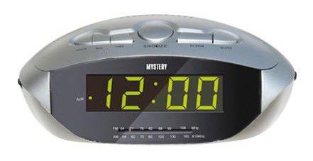 Радиобудильник MYSTERY MCR-47, зеленая подсветка,  серебристый