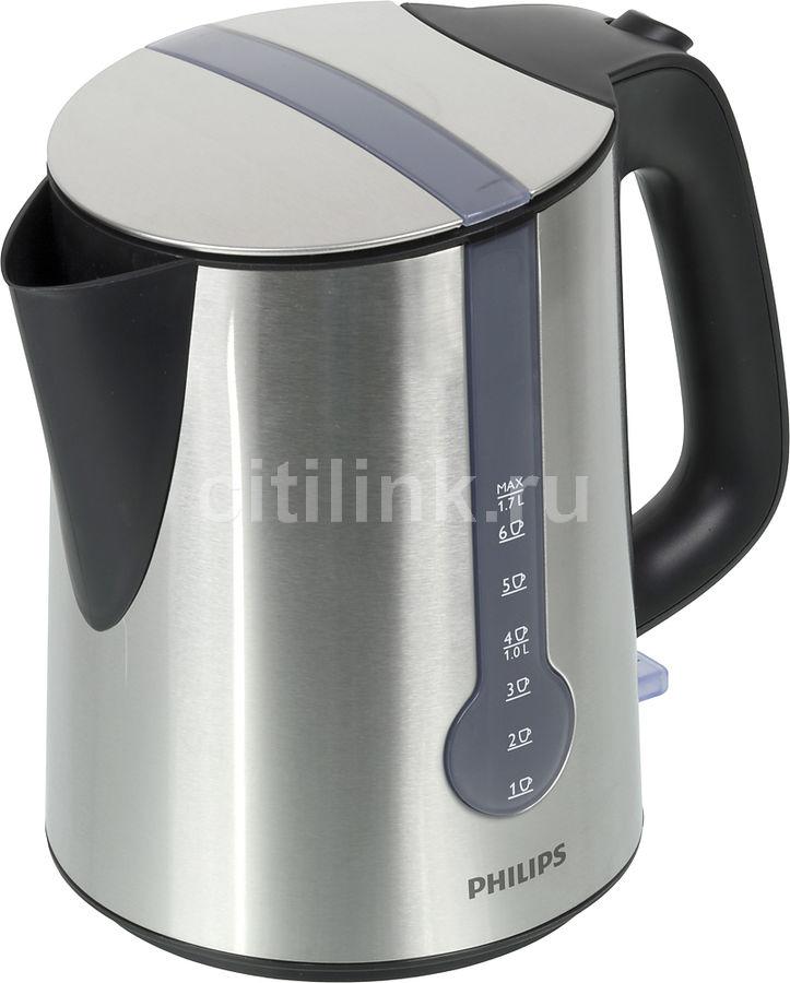 Чайник электрический PHILIPS HD4670, 2400Вт, серебристый и черный