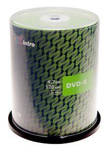 Диск DVD-R Intro 4.7Gb 16x Cake Box (1шт) (100)