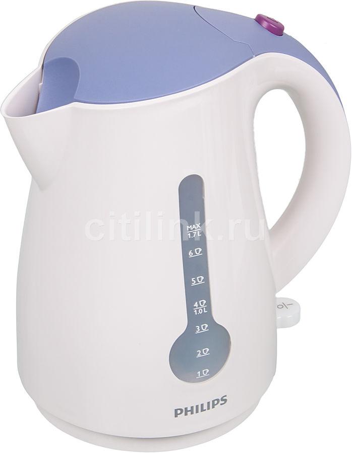 Чайник электрический PHILIPS HD4677/40, 2400Вт, белый и фиолетовый