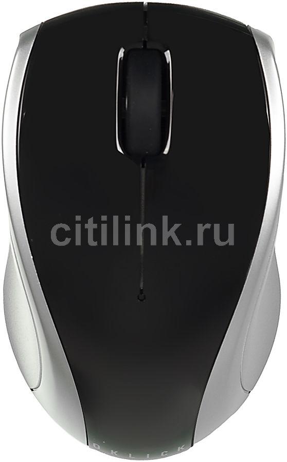 Мышь OKLICK 540SW оптическая беспроводная USB, черный и серебристый [b316+c55]