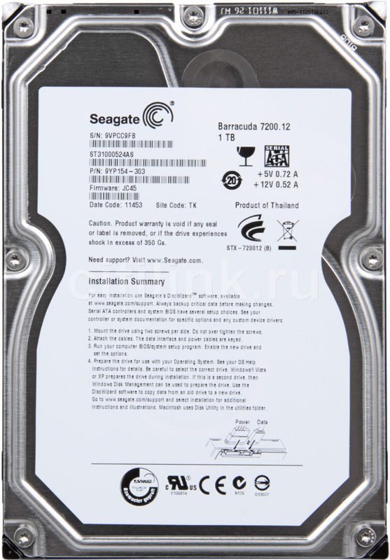 "Жесткий диск SEAGATE Barracuda 7200.12 ST31000524AS,  1Тб,  HDD,  SATA III,  3.5"""