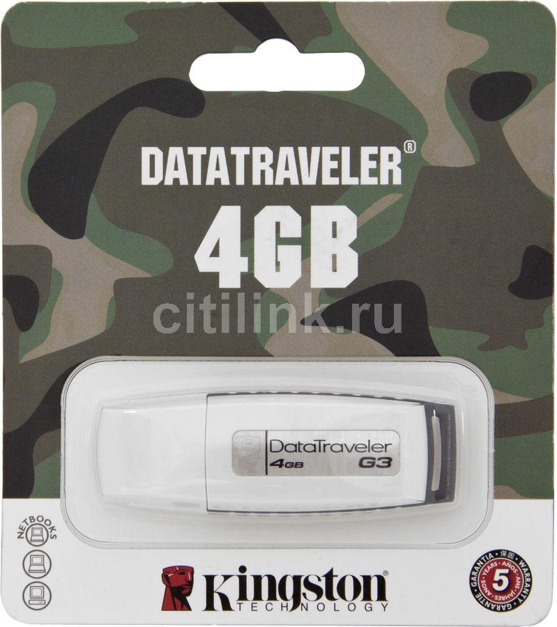 Флешка USB KINGSTON DataTraveler Generation 3 4Гб, USB2.0, белый и серый [kc-u324g-2ur]