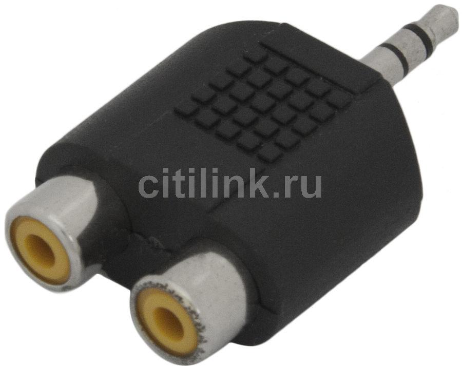 Адаптер аудио BANDRIDGE Jack 3.5 (m)  -  2хRCA (f) ,  черный [vap432]